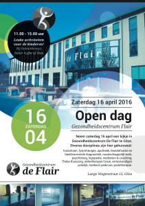 Flyer open dag Gezondheidscentrum de Fair